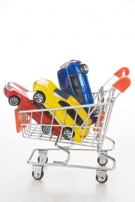 shopping cart of cars