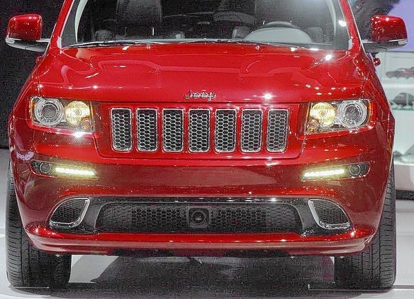 LED lights are shown on a 2012 Jeep Grand Cherokee during the first media preview day at the 2012 Chicago Auto Show in Chicago