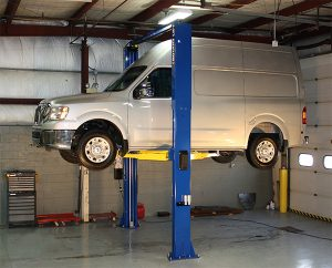 Rotary Lift's new extended-height SPO12 EH3 two-post lift provides three feet of extra lifting height for servicing the growing number of high-roof commercial vans.